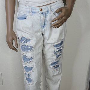 Mossimo jeans mid rise 4 light wash distressed